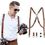 HOMELEX Multi Cameras Dual Shoulders Genuine Leather Harness Vintage Camera Neck Strap (Brown) (Color: Brown, Tamaño: One size)
