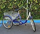 New 6-Speed 24 3-Wheel Adult Tricycle Bicycle Trike Cruise Bike W/ Basket -Blue