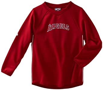 MLB Los Angeles Angels Long Sleeve Crew Neck Thermabase Tech Fleece Pullover Boys