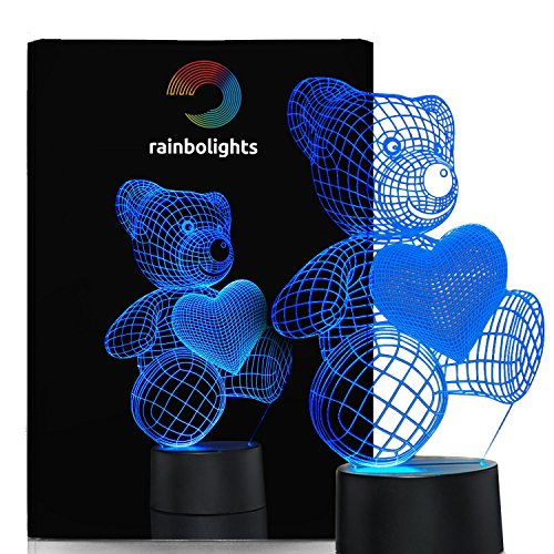 Unique Night Light Teddy Bear 7 Color LED Does Not Get Hot By rainbolights Ideal In A Nursery or bedroom a Great Gift Idea (Teddy Bear Theme compare prices)