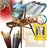 French Art Easel Set - Gift Edition - with Comprehensive Artist Quality Painting Supplies - Great Gift Idea