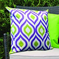 Purple & Lime Geometric Design Water Resistant Outdoor Filled Cushion for Cane/Garden Furniture by Gardenista