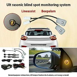 Elliot Jonah Car Blind Spot Monitoring System, Ultrasonic Blind Spot Detection System Sensor BSD Distance Assistant Car Lane Changing Warning Reversing Radar (Color: Metal, Tamaño: 1)