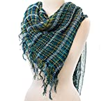 Turquoise and Gold Plaid Scarf