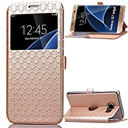 Galaxy S7 Case,Inspirationc® Smart Unlock Smart Touch Metal Answer Calls Folio Flip PU Leather Wallet Pouch Case with Stand for Samsung Galaxy S7 (2016)--Gold