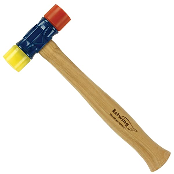 Estwing Rubber Mallet  - 12 oz Double-Face Hammer with Soft/Hard Tips & Hickory Wood Handle - DFH12