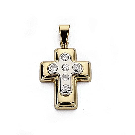 18k gold cross bicolor 22mm. zircons [7910]