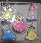 Disney Princess Set of 5 Holiday Christmas Ornaments with Glitter - Ariel Aurora Cinderella Belle and Snow White
