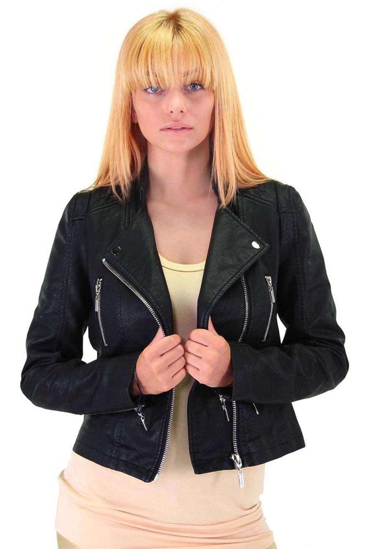 Trendige Kunstlederjacke im Biker-Design SCHWARZ S M L XL Damen Biker Leder Übergangsjacke Reißverschluss Jacke bestellen