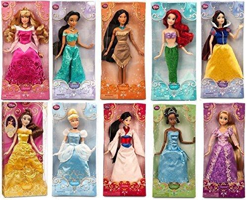 "Disney Store Disney Princess 12"" Doll Collection Holiday Gift Set Featuring All 10 Princesses: Snow White, Cinderella, Aurora (Sleeping Beauty), Ariel, Belle, Jasmine, Pocahontas, Mulan, Tiana and Rapunzel by Disney"