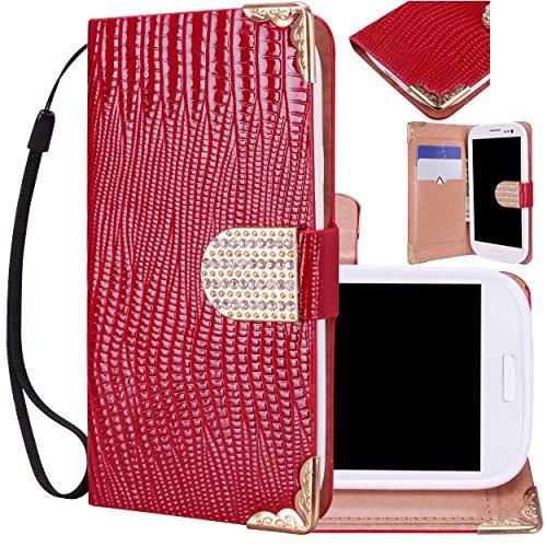 Majesticase® Samsung Galaxy S3 i9300 Wallet Case - Deluxe Bling Fancy Wristlet Wallet Purse Clutch Croc Pattern Cover + FREE Stylus in Red