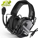 TOENNESEN Tactical Headset Electronic Earmuff with Microphone - Sound Amplification Electronic Ear Protection Noise Canceling Shooting Headphones(Black) (Color: Black)
