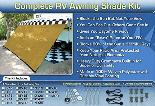 RV Awning Shade Motorhome Trailer Beige Awning Shade Complete Kit 10x20 (10 Ft Utility Trailer compare prices)