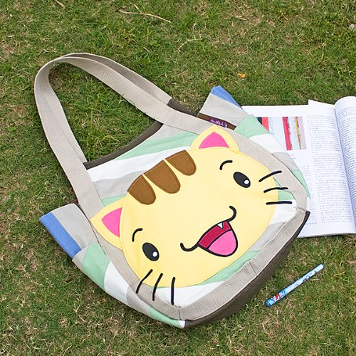 ONITIVA – [Kitty Meow] Hand-appliqued 100% Cotton Fabric Art Shoulder Tote Bag / Shopper Bag