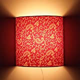Craftter Traditional KERI DESIGN PINK Color FABRIC Half Shade WALL LAMP Fixture