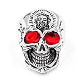 FENDINA Men's Stainless Steel Vintage Punk Style Gothic Flower Skull Biker Ring with Red CZ Eye (Color: Silver)