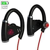 [NEWEST 2018] Bluetooth Headphones w/12-14 Hours Battery - Best Wireless Sport Earphones w/Mic - IPX7 Waterproof Music In-Ear Earbuds for Gym Running Workout Noise Cancelling for Men, Women (Color: Black)