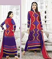 Nice Navy Blue and Coral Red Semi Stitched Suit Material
