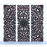 Benzara Modern Wood Wall Panel with Dark Finish, 36-Inch, Set of 3