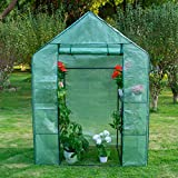 Sundale Outdoor Portable Gardening 2 Tier 4 Shelf Steeple Green House with PE Cover, Waterproof Walk in Plant Green House, 56.5