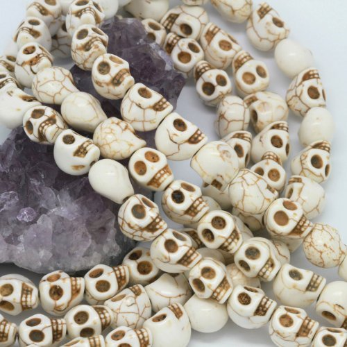 Howlite Turquoise Loose Beads Carved Skulls Spacer 10X12mm White by BHbeads
