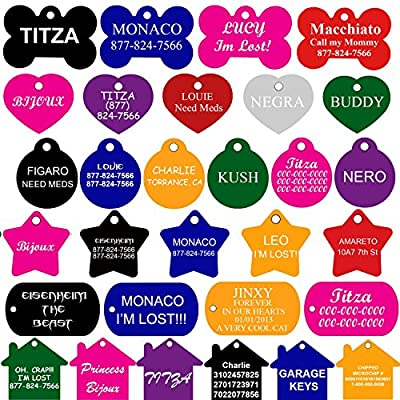 SET OF 2 Dog Tags Pet ID Tags | FRONT AND BACK ENGRAVING | Premium Aluminium | Many Shapes and Colors to Choose From| by CNATTAGS (LIFE TIME WARRANTY)