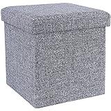 Songmics 38 cm Cube Faltbarer Sitzhocker Sitzwürfel Hocker Truhen Imitiertes Leinen Lichtgrau LSF27H