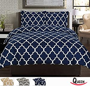 Utopia Bedding Printed Duvet Cover Set - Super Soft Classic Print HIGH QUALITY 100% Brushed Microfiber Premium Bedding Collections - Wrinkle, Fade, Stain Resistant - Hypoallergenic -3 Piece Set - Duvet Cover and 2 Pillowcases - Best For Bedroom, Guest Room, Childrens Room, RV, Vacation Home (Navy, Queen)