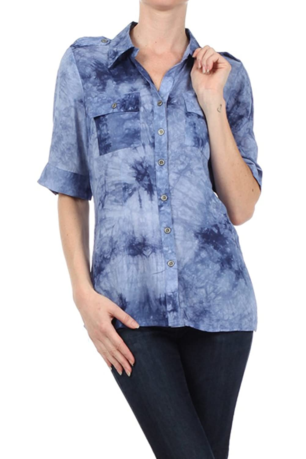 Фото Plus Size Navy Tie Dye Top