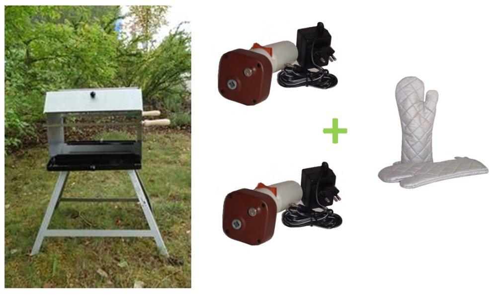 Mutzbratengrill mit 2 Spießen für 14 Portionen und 2 Kombigrillmotoren + Grillhandschuhe online bestellen