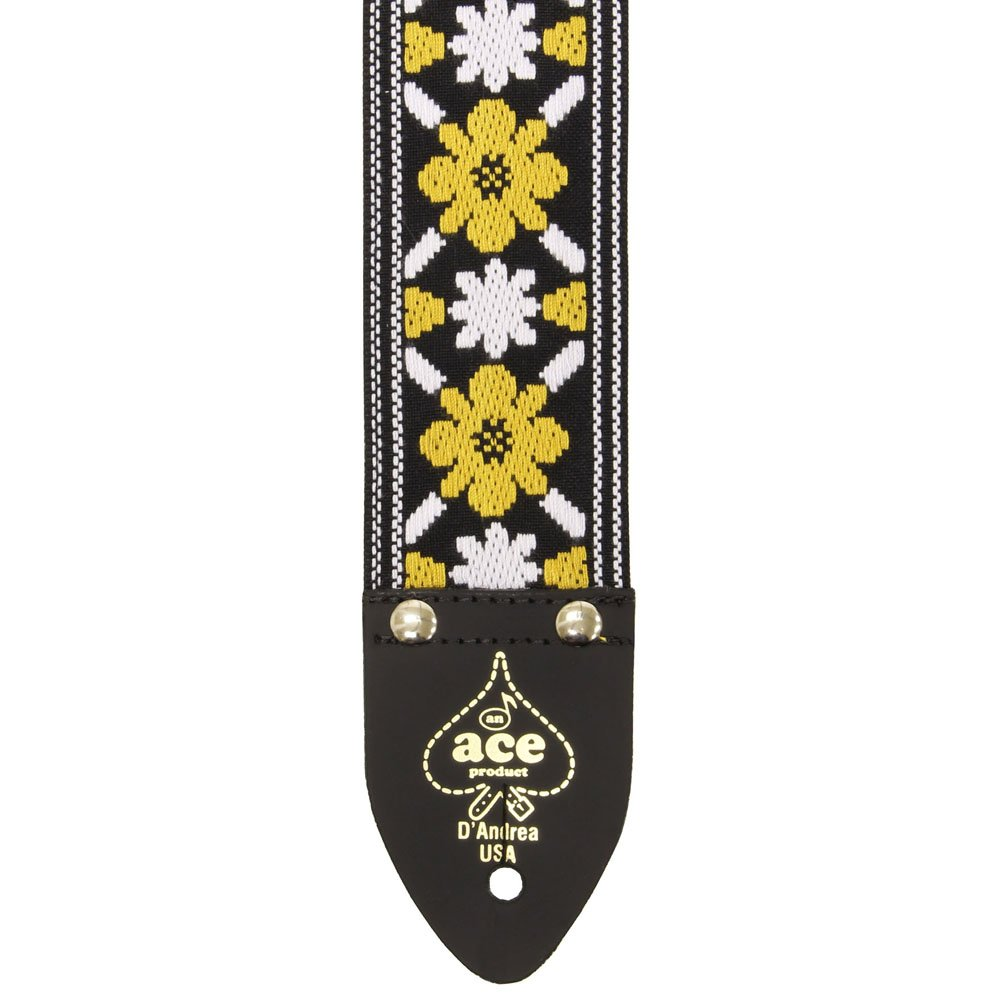 Ace Guitar Strap Vintage Style Yellow and White Flowers Lennon 2