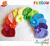 Ema Jane Super Rainbow Waffle Crochet Beanies with Hair Accessories (12 + 12, 24 Pack)