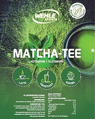 Matcha-Tee-Pulver   Grüntee-Pulver für Matcha-Latte, Matcha-Smoothies, Matcha-Getränk   Wehle Sports   wiederverschließbarer Beutel mit 100g Matcha-Pulver von Wehle Sports - Gewürze Shop