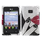 Fincibo (TM) LG Optimus Logic L35g Dynamic L38c Bling Crystal Full Rhinestones Diamond Case Protector - Sexy Lip
