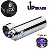 Triple Arc Lighter Plasma Arc Lighter USB Cigar Lighter Windproof Electric Lighter Electric Pipe Lighter (Color: Triple Arc Silver, Tamaño: 1.1 x 1.1 x 4.2 inches)