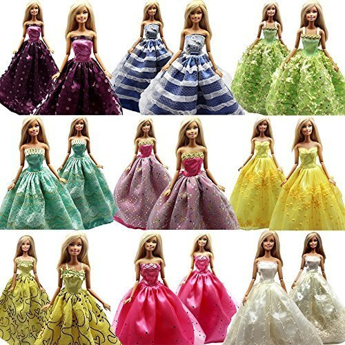 5 Pcs Handmade Fashion Wedding Party Gown Dresses & Clothes for Barbie Doll Xmas Gift - 1