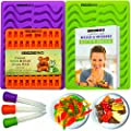 2 WORM MOLDS and 1 GUMMY BEAR MOLD with 3 LIQUID DROPPERS plus LATEST RECIPE EBOOK and 1 YEAR WARRANTY. Premium BPA free Silicone for Gelatin Candy Jello Chocolate Ice and Gummie maker by MOLDS 4 U