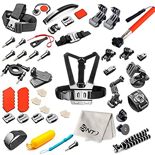 SNT-55-in-1-Sport-Kit-di-accessori-per-GoPro-hero4-Session-Hero1-2-3-3-4-SJ4000-5000-6000-7000-Xiaomi-Yi-in-Nuoto-Canottaggio-Sci-Arrampicata-Ciclismo-Campeggio-Immersioni-e-Altri-Sport-all-aria-apert