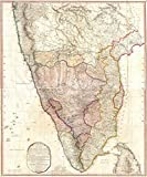 Vintage1793 Faden Wall Map of India - 24 x 28in Fine Art Print