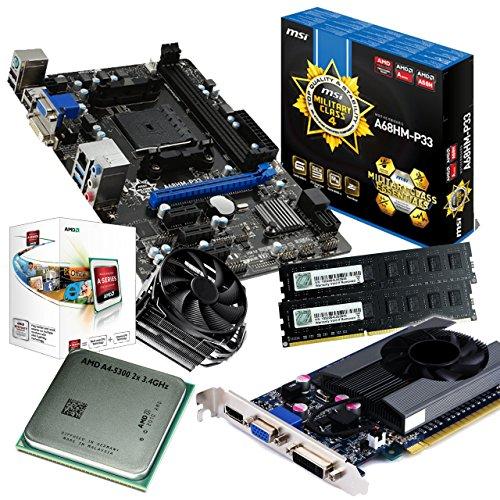 tronics24 PC Aufrüstkit | AMD A4-5300 2x 3.4GHz Dual-Core | 8GB High-Speed DDR3-RAM PC-1600 GSKILL | Nvidia GeForce GT630 4GB | MSI A68HM-P33 Mainboard mit AMD A68 Chipset | Gigabit-LAN | Soundkarte | USB3