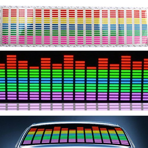 Dbpower 70X16Cm 12V Sound Sensitive Music Beat Activated Car Sticker Equalizer Michael Sticker Music Rhythm Led Flash Lamp With Car Cigarette Charger