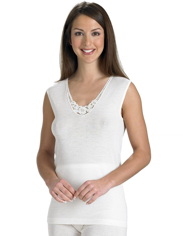 Slenderella Natural Luxus Wolle und Seide ärmelloses Hemdchen Top in Cream UW951