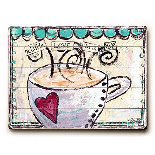 "A Little Love In A Cup by Artist Misty Diller 9""x12"" Solid Wood Sign Wall Decor Art"