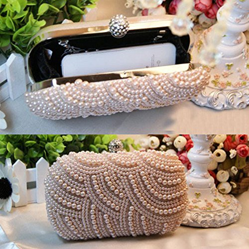White New Ring Evening Bag Pearl Diamond Chain Wedding Party Purse