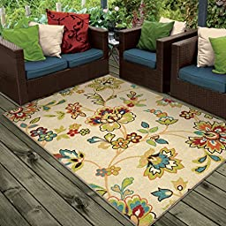 Orian Rugs Indoor/Outdoor Floral Wakeley Ivory Area Rug (5\'2\