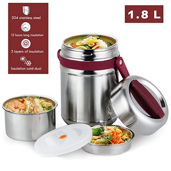 23be5b943f61 Vacuum Bento Lunch Box Food Carrier 304 Stainless Steel Insulated ...