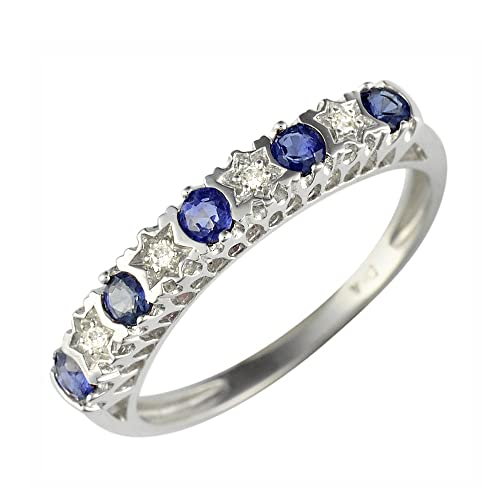 Ivy Gems 9ct White Gold Light Blue Sapphire and Diamond Stars Half Eternity Ring