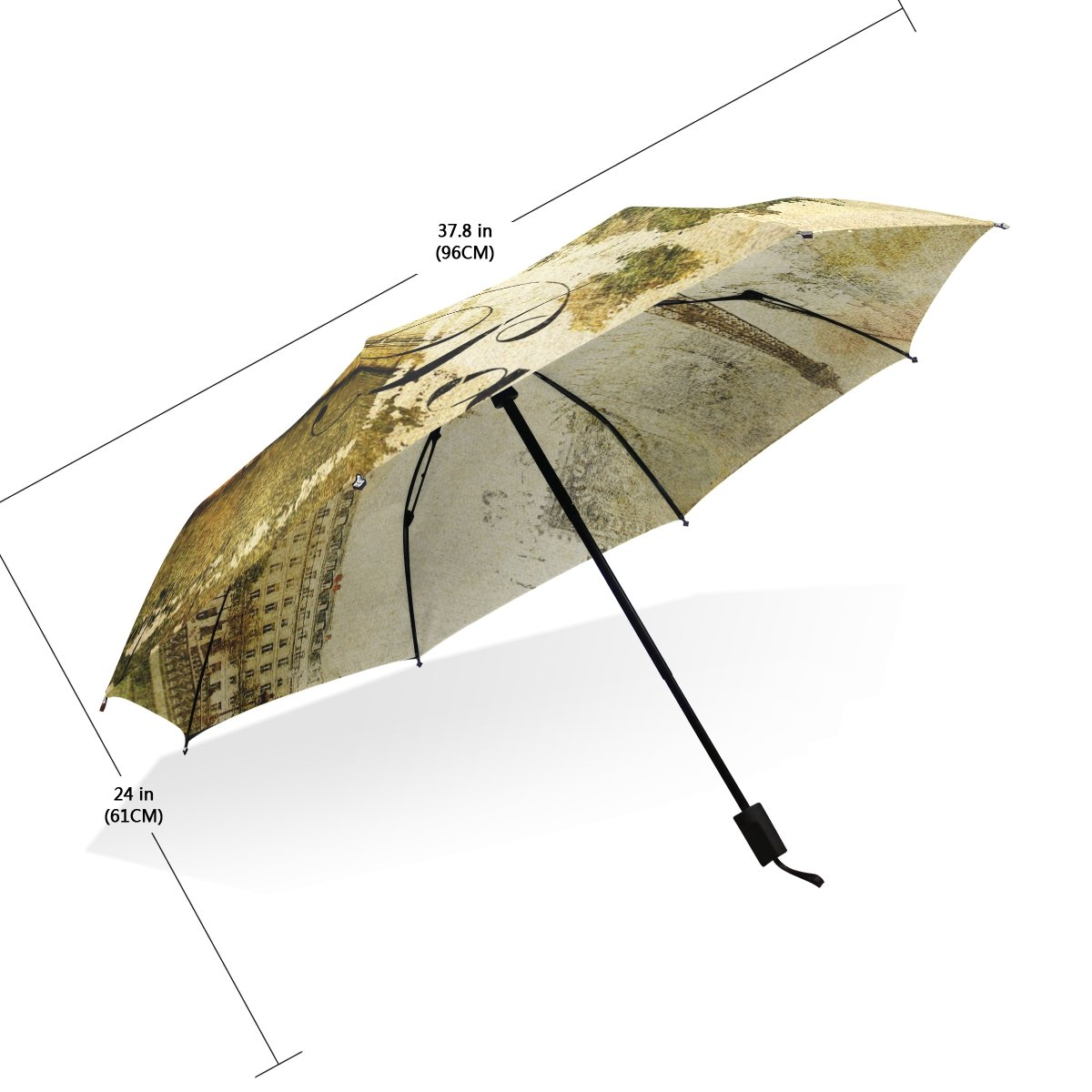 JSTEL Compact Ultra-light and Portable Travel Foldable Rain Umbrella Paris Vintage Pattern 1