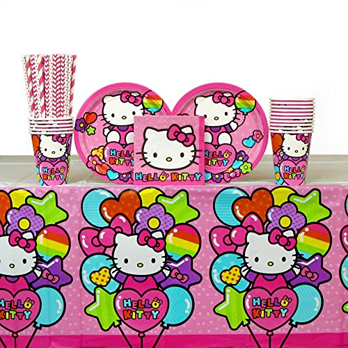 Hello-Kitty-Party-Pack-for-16-Guests-Straws-Plates-Napkins-Cups-and-Table-Cover