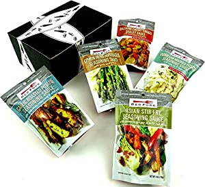 Red Fork Sauces 5-Flavor Variety: One 4 oz Pouch Each of Garlic Roasted Potato Seasoning Sauce, Asian Stir-Fry Seasoning Sauce, Lemon Herb Asparagus Seasoning Sauce, Parmesan Mashed Potato Seasoning Sauce, and Balsamic Cherry Tomato Skillet Sauce in a Gift Box